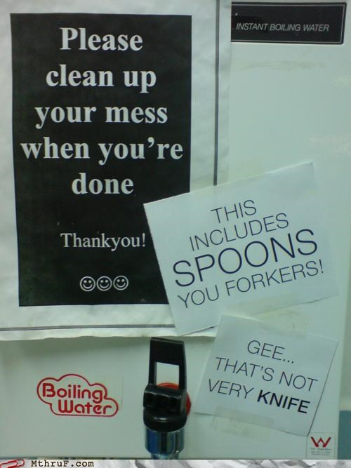 breakroom,cutlery,puns,signs