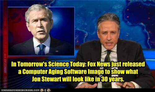 In Tomorrow's Science Today: Fox News just released  a Computer Aging Software Image to show what  Jon Stewart will look like in 30 years.