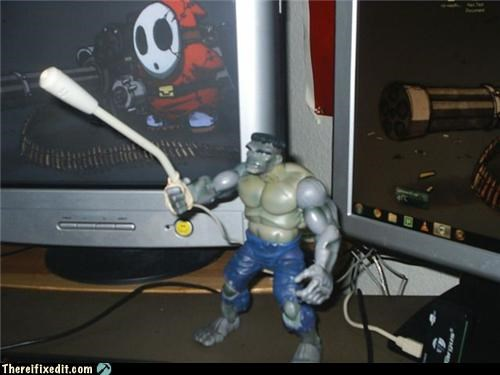 dual use,holding it up,hulk,microphone