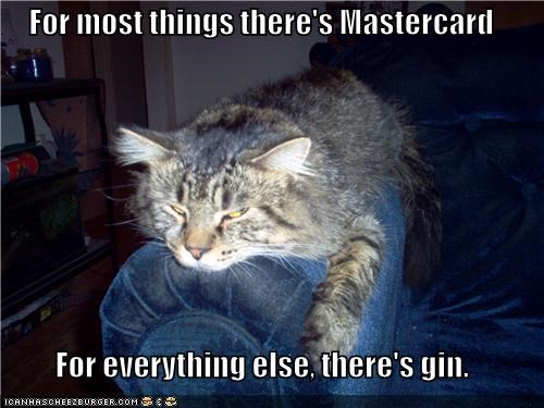 For most things there's Mastercard  For everything else, there's gin.