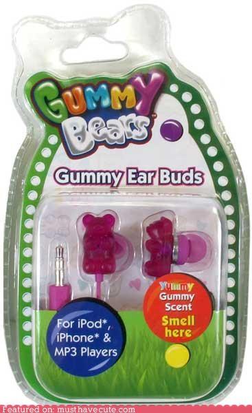 earbuds,gummy bears,headphones,scented