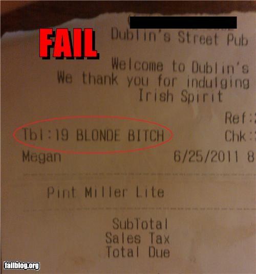 failboat,Professional At Work,receipt,restaurant,swear word,waiter