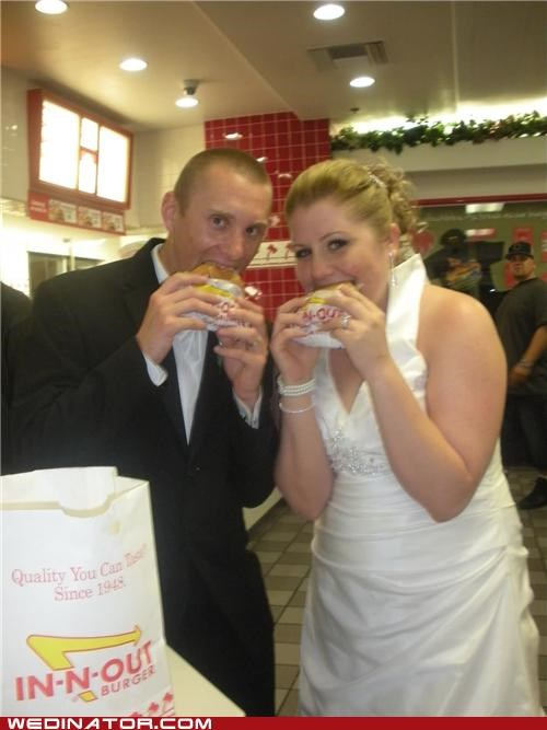 bride,fast food,food,funny wedding photos,groom,in-n-out burger