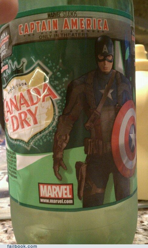 Captain America Drinks Canada Dry