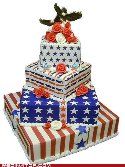 america,fourth of july,funny wedding photos,wedding cake