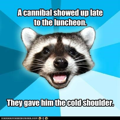 arm,cannibals,delicious,food,Lame Pun Coon,shoulder