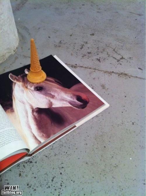 animals,cone,horses,ice cream cone,unicorn