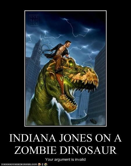 INDIANA JONES ON A ZOMBIE DINOSAUR