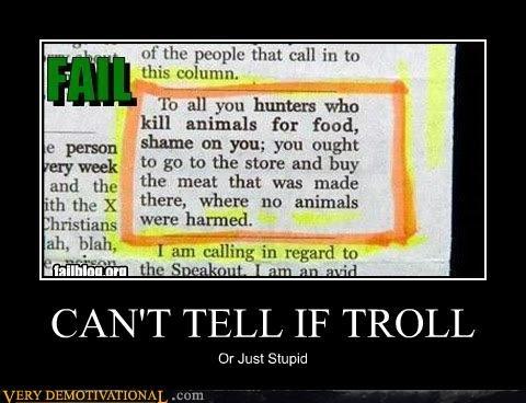 animals,hilarious,hunters,news article,stupid,troll