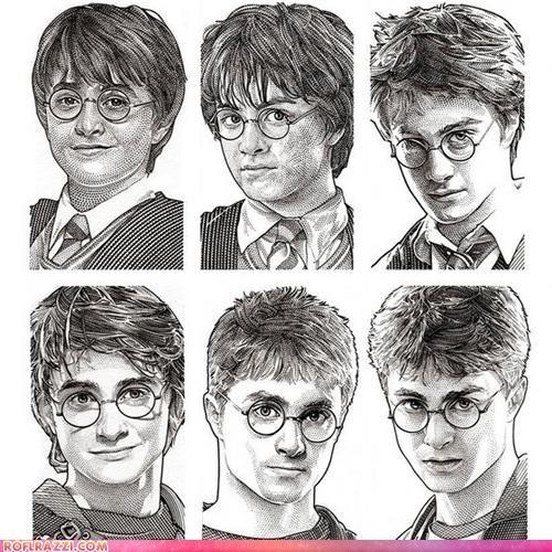 The Harry Potter Stipple Portrait Aging Timeline