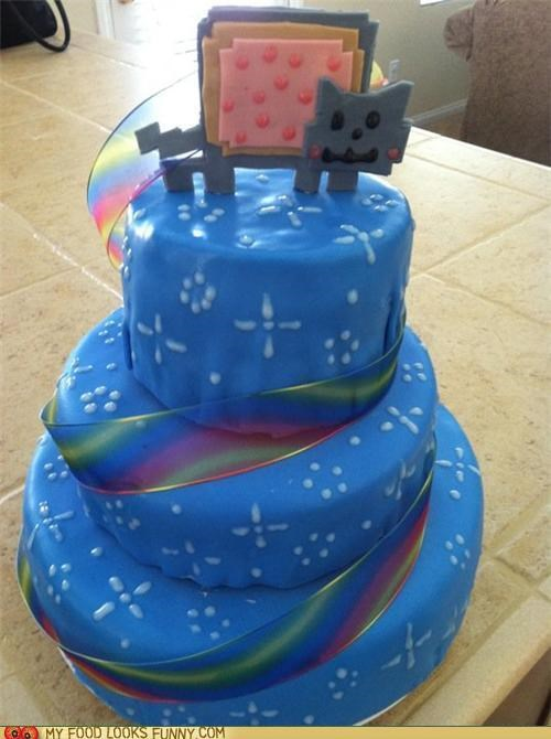 cake,Nyan Cat,pop tart,rainbow,ribbon,sky