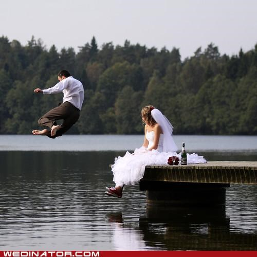bride,funny wedding photos,jump,jumping groom,lake,water