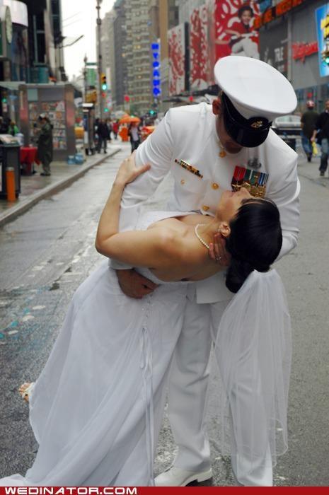 bride,funny wedding,KISS,navy,photos,uniform