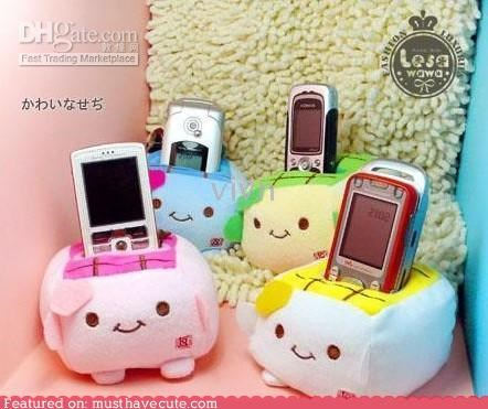 cell phone,faces,fleece,holder,Plush,stand,tofu