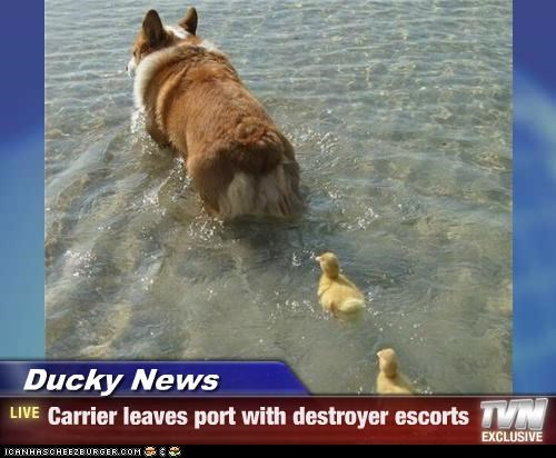 Ducky News - Carrier leaves port with destroyer escorts
