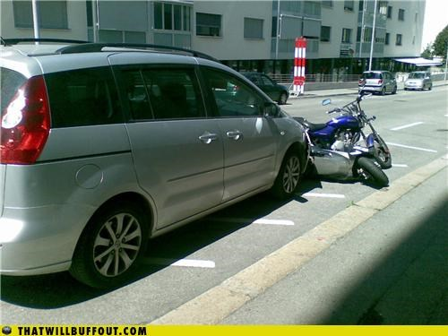 Douchebag Parkers: Minivan > Motorcycle