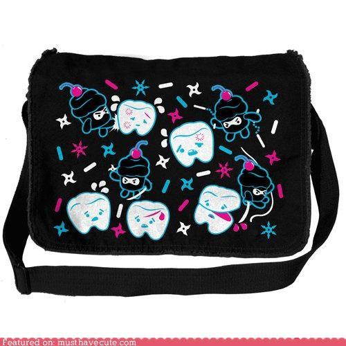 bag,Battle,cupcakes,messenger bag,ninjas,teeth