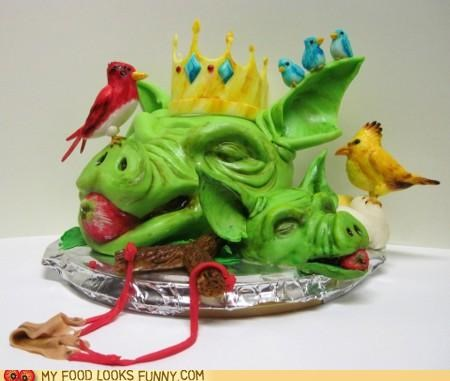 angry birds,birds,cake,crown,heads,pig,slingshot