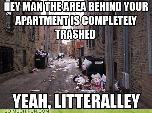 alley,garbage,literalism,literally,litter,similar sounding,trash,trashed