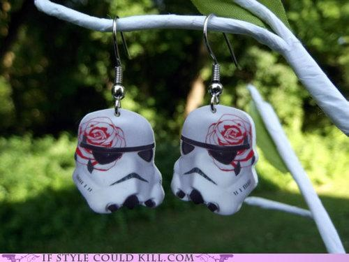 cool accessories,earrings,roses,star wars,stormtrooper
