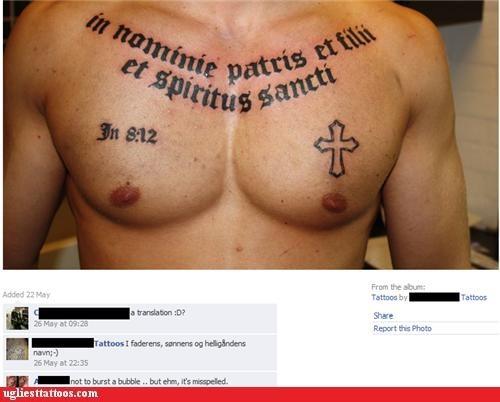 bible verse,christian,cross,latin,misspelled tattoos