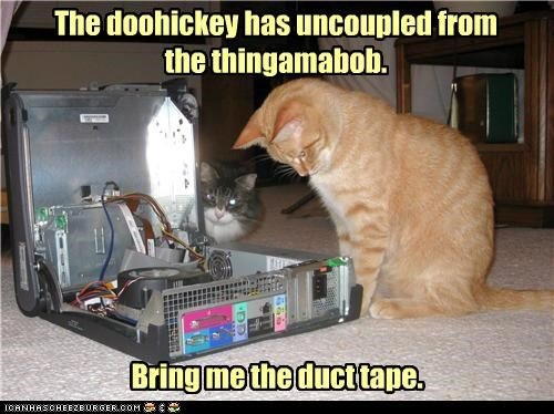 caption,captioned,cat,computer,doohickey,duct tape,fix it,fixing,problem,solution,tabby,thingamabob