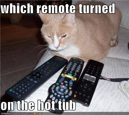 which remote turned   on the hot tub