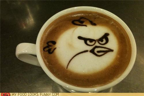 angry birds,art,chocolate,coffee,foam,latte