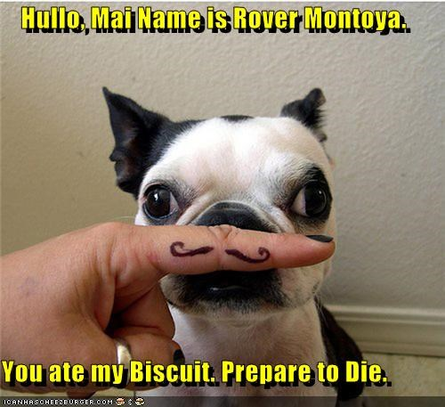 Hullo, Mai Name is Rover Montoya.   You ate my Biscuit. Prepare to Die.