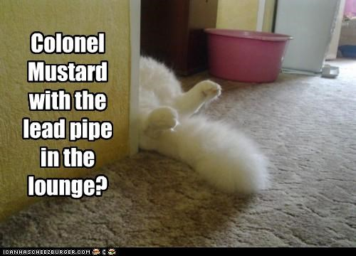 caption,captioned,cat,clue,colonel mustard,guess,lead,lounge,murder,pipe,question