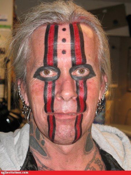 black eyes,face tattoos,stripes