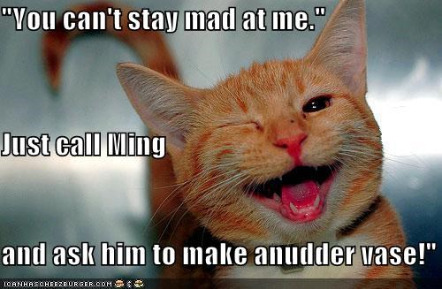 """You can't stay mad at me."" Just call Ming and ask him to make anudder vase!"""
