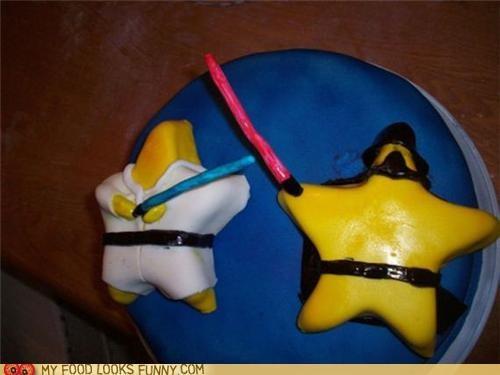 Battle,cake,lightsabers,star wars,stars