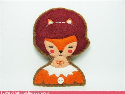 brooch,felt,fox,girl,handmade,pin