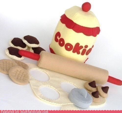 cookie jar,cookies,dough,felt,kit,play,rolling pin,set