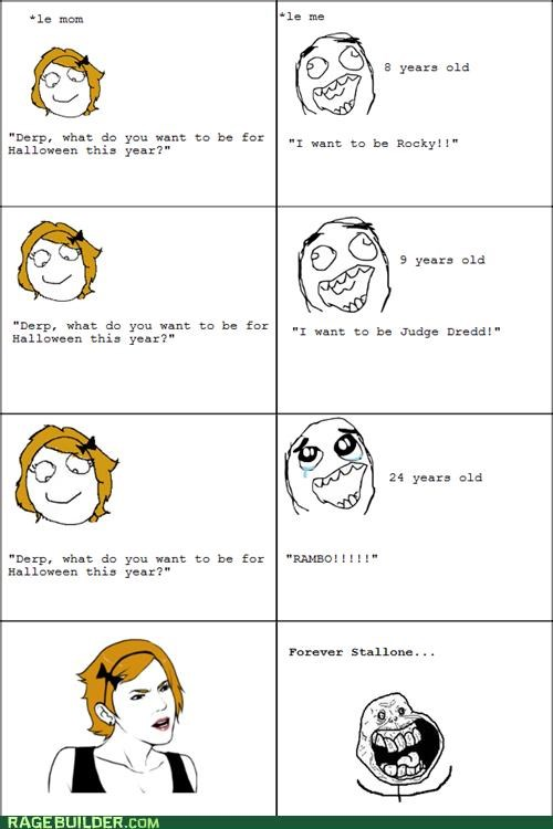 forever alone,halloween,Rage Comics,stallone