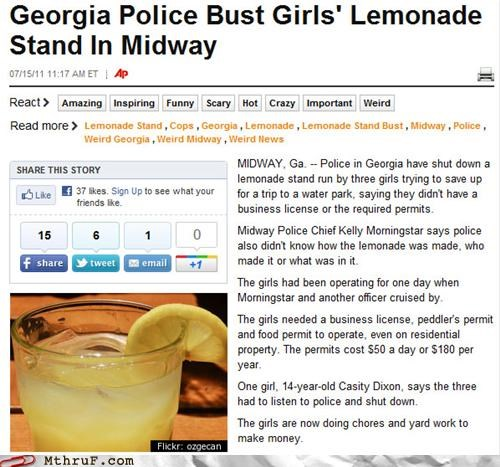 busted,illegal,lemonade stand,license,permit