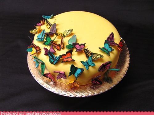butterflies,cake,edible,epicute,fondant,yellow