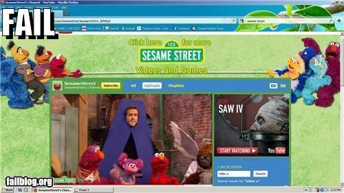 ads,childrens,g rated,juxtaposition,saw,Sesame Street