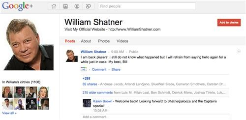 Shatner on Google+ of the Day
