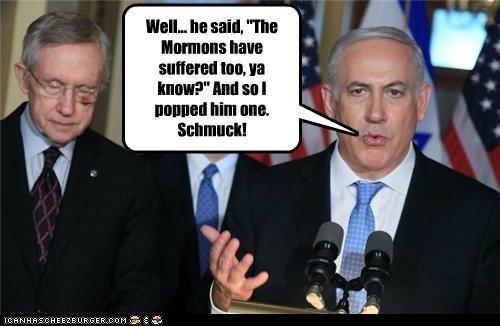 benjamin netanyahu,jews,Mitt Romney,mormons,political pictures