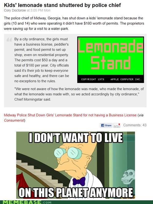 farnsworth,fry,futurama,i-dont-want,lemonade,news,planet,police