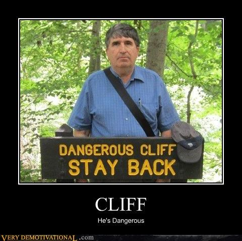 cliff,hilarious,old guy,sign,white people,wtf