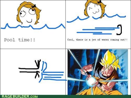 Dragon Ball Z,jet,pool,Rage Comics,water