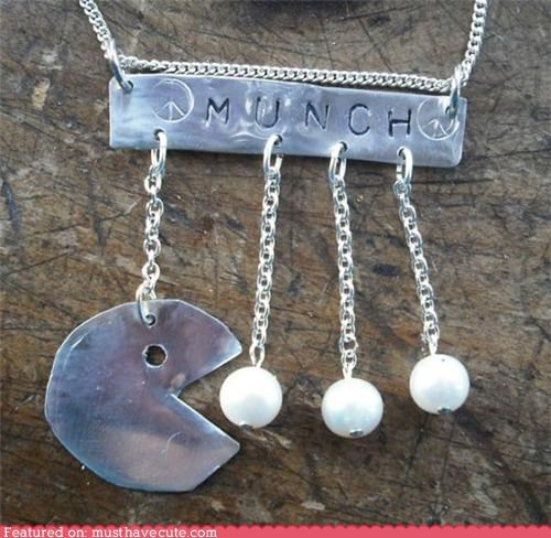 beads,chain,Jewelry,necklace,pac man,pearls,pendant,silver