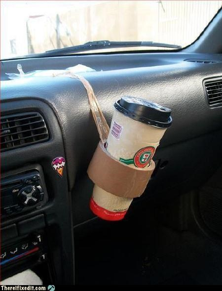 Quicky-Sticky Cup Holder
