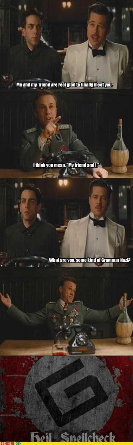 brad pitt,From the Movies,grammar,Inglorious Basterds,nazi,spell check
