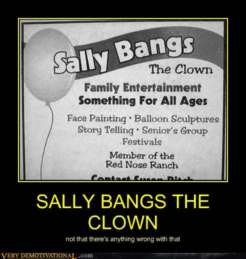 SALLY BANGS THE CLOWN