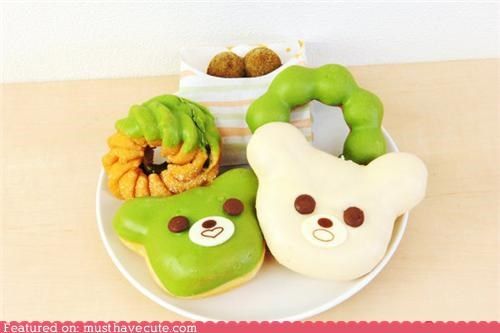 bears,donuts,epicute,faces,green,icing,ring