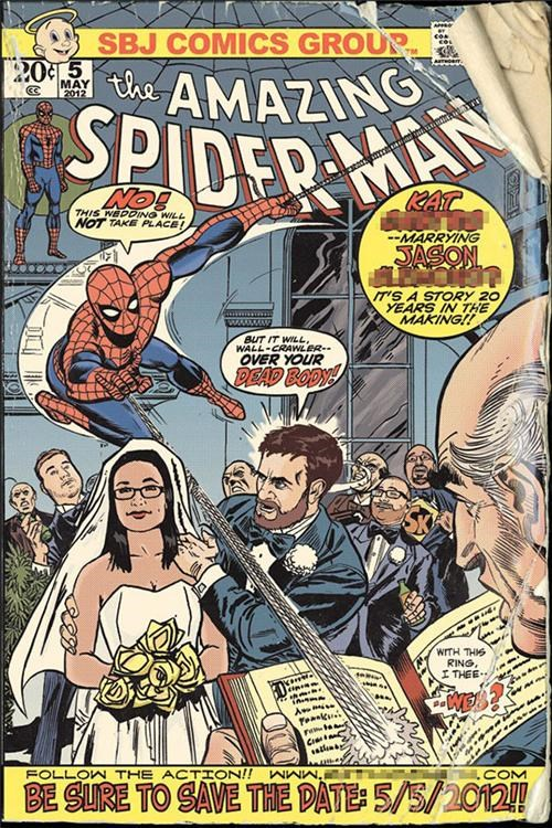 comics,save the date,Spider-Man,wedding